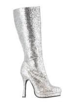 Silver Glitter High Heeled Boots