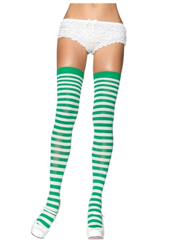 White and Green Munchkin Stockings